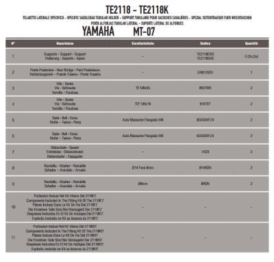 GIVI TE2118 YAMAHA MT-07 (14-17) YAN KUMAS ÇANTA TASIYICI